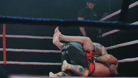 Belgorod, Russia - 22 October 2016: Last fight of the legend Jeff Monson versus Alex Kardo in the ring mixed martial stock footage