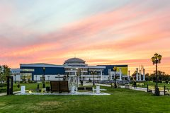 Training and Sports Complex Svetlana Khorkina Belgorod State University. Walkup campus. Evening street view on a sunset. royalty free stock images