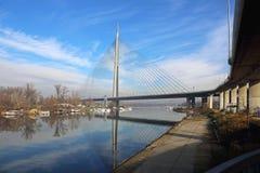 Belgrad Ada Bridge Stockfotografie