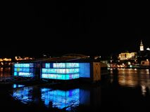 Belgrad bij Nacht, Servië Stock Foto