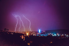 Belgrad nachts Stockfotos