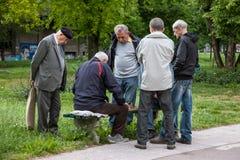 BELGRAD, SERBIEN - 8. MAI 2017: Alte Männer, die Schach auf einer Bank in einem Park von Zemun-Bezirk, in Belgrad spielen Stockbild