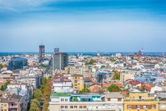 Belgrad, Serbien 11 09 2017 : Panorama von Belgrad genommen vom Tempel Heiligen Sava Stockbilder