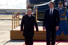 belgrad Serbii Styczeń 17th 2019 Prezydent federacja rosyjska, Vladimir Putin w oficjalnej wizycie Belgrade, Serbia fotografia stock