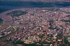 Belgrade airplane view. Belgrade city center from the airplane Royalty Free Stock Image