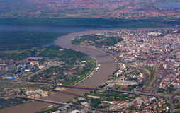 Belgrade airplane view. Belgrade city center from the airplane Royalty Free Stock Images