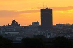 Belgrade au coucher du soleil Image libre de droits