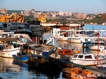 Belgrade boats. Boats on Sava river is ussualy very picturesque. Belgrade lies on two rivers, Sava and Danube stock images