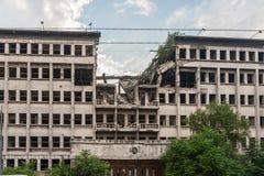Belgrade bombarderade byggnad royaltyfri fotografi