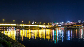 Belgrade bridge by night Royalty Free Stock Images