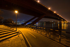 Belgrade bridge from river bank Stock Image