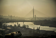 Belgrade Bridges. A panoramic view of rivers and bridges in Belgrade Royalty Free Stock Photo
