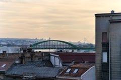 Belgrade broar och tak Arkivbild