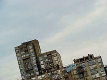 Concrete in the sky. Belgrade, capitol of Serbia. Watching from the point of former Danube railroad station, on the horizon one can see silhouettes of huge royalty free stock image