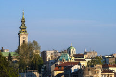 Belgrade city center. A view on the roofs and church in the Belgrade old city Royalty Free Stock Image