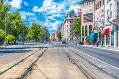 Belgrade city streets. Belgrade, Serbia - Jul 16,2017: Karadjordjeva street on of the oldest streets in centar of Belgrade stock photos