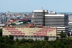 Belgrade Clinical center. View on Belgrade Clinical center in far distance Royalty Free Stock Photos