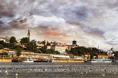 Belgrade Cloudy Waterfront Panorama at Dusk Royalty Free Stock Images
