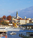 Belgrade. Colorful, view from river Sava , bridge, Serbia Royalty Free Stock Image