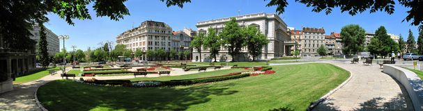 Belgrade downtown. Pioneer`s park panorama in Belgrade downtown royalty free stock photo