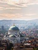 Belgrade downtown skyline with temple of Saint Sava Royalty Free Stock Photo