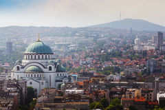 Belgrade downtown skyline with temple of Saint Sava and Avala tower Royalty Free Stock Image