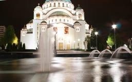 Belgrade en av dragningar i staden - helgonSava tempel Royaltyfri Bild