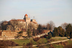 Belgrade fortress 2. Hill over river in belgrade with monument on ancient fortress Royalty Free Stock Photo