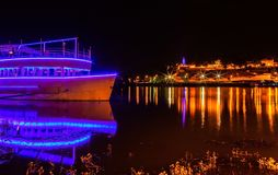 Belgrade fortress by night and illuminated ship 3 Royalty Free Stock Photography