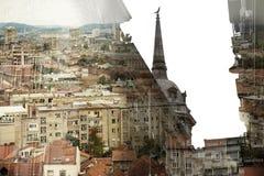 Belgrade gränsmärken Begrepp för dubbel exponering Royaltyfria Foton