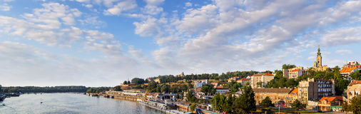 Belgrade Kalemegdan Fortress And Tourist Nautical Port On Sava River. Panoramic photograph of Belgrade waterfront, with Kalemegdan park, Belgrade medieval stock photo