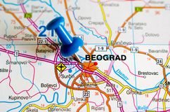 Belgrade on map. Close up shot of Belgrade or Beograd on map with blue push pin Stock Photos