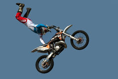 Freestyle biker. BELGRADE-MARCH 23:The spectacular jumps of freestyle biker on the 51th International Belgrade car show.March 23,2013 in Belgrade, Serbia Royalty Free Stock Image