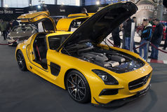 Série de noir de coupé de Mercedes SLS AMG de voiture Photos libres de droits