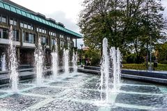 Belgrade National Library Fountains stock photo