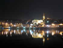 Belgrade by night. In river miror Royalty Free Stock Image