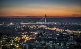 Belgrade by night. Night panorama of Belgrade with rivers and bridges Stock Photo