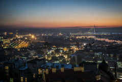Belgrade by night. Night panorama of Belgrade with rivers and bridges Royalty Free Stock Photography