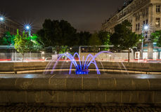 Belgrade at night, parc downtown. Belgrade city night scene in downtown. Long exposure photography, beautiful violet fontaine Stock Photo