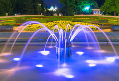Belgrade at night, parc downtown. Belgrade city night scene in downtown. Long exposure photography, fontaine Royalty Free Stock Photo