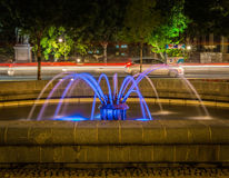 Belgrade at night, parc downtown, HDR effect. Belgrade city night scene in downtown. Long exposure photography, beautiful violet fontaine, HDR effect Stock Images