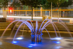Belgrade at night, park downtown. Belgrade city night scene in downtown. Long exposure photography, beautiful violet fountain Royalty Free Stock Image