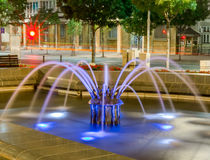 Belgrade at night, park downtown. Belgrade city night scene in downtown. Long exposure photography, beautiful violet fountain Royalty Free Stock Images
