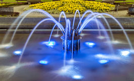 Belgrade at night, park downtown. Belgrade city night scene in downtown. Long exposure photography, fountain Royalty Free Stock Photo