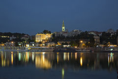 Belgrade at night, Serbia, river Sava Stock Photo