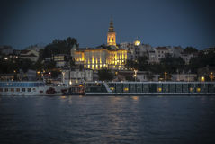 Belgrade by night. Night view of Belgrade from the river Stock Images