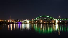 Belgrade old bridge by night Royalty Free Stock Photos