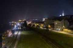 Belgrade old town taken from above at night. Kalemegdan fortress and the cathedral Saborna Crkva can be seen in the background Royalty Free Stock Images
