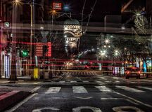 Belgrade på natten Royaltyfri Bild