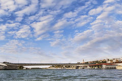 Belgrade Panorama - Branko's Bridge With Tourist Port On Sava River Viewed From The River Perspective - Serbia. Belgrade downtown cloudy skyline with Stock Images